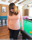 PN New Plus Large Size Lady Pink Pure Color Round Collor Long Sleeve T-Shirt