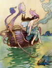 Sea Fairy Fabric Block - Princess Rides Nautilus Shell - Warwick Goble