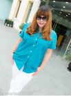PN New Plus Large Size Lady Polyester Blue Pure Color Short Sleeve Blouse