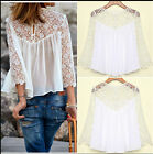 Hot sale Women Fashion Casual Lace Shirts Chiffon Blouses T Shirt Tops UK F0