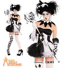 Adult Tricksterina Costume Ladies Halloween Jester Clown Fancy Dress Outfit New