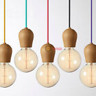 New Colorful E27 Wood Lamp holder Pendant lamp DIY lamps Ceiling Light
