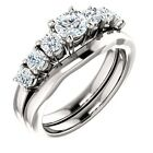 1.15ct 5 stone Moissanite & diamond 14K White Gold Halo Engagement Ring Set