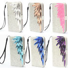 Luxury Bling Diamonds PU Leather Wallet Flip Case Cover For Samsung Mobile JZBB