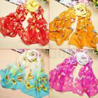 Women Lady Soft Printed Floral Butterfly Graffiti Scarf Shawl Neck Wrap Stole WT