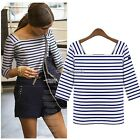 New Women 3/4 Sleeve Striped Casual Loose Cotton Peplum Hooded Tops T-Shirt Tee