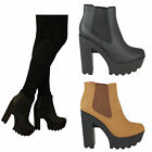 womens cleated sole chelsea chunky high block heel platform ladies ankle boots