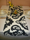 Table Runner Black White Damask Funky Retro Modern Design #20