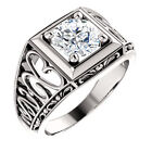 1.25 ct Forever Brilliant Moissanite 14K White Gold Floral Style Vintage Ring