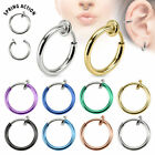 Fake Nose Ring Hoop Eyebrow Septum Upper Ear Lip Spring Loaded Clip On Piercing