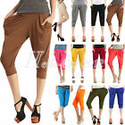 Hot Womens Basic Solid Stretch Capri Harem Pants Cropped Legging Bottoms Trouser