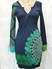 Desigual l/s Dress AW14 Navy with Green Print