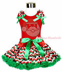XMAS Rhinestone Santa Claus Red Top Chevron Pettiskirt Baby Girl Outfit Set 1-8Y