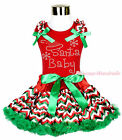 XMAS Rhinestone Baby Santa Print Red Top Chevron Pettiskirt Girl Outfit Set 1-8Y