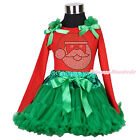 XMAS Red Top Rhinestone Santa Claus Print Kelly Green Skirt Girl Outfit Set 1-8Y
