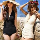 Retro Lady One Piece Swimsuit Halter Swimwear Swim Dress Women Bathing Suits