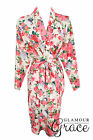 White Floral Print Vintage Rayon Cotton Robe Dressing Gown Wedding Bride