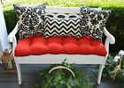 Red Tufted Cushion & Black Damask & Chevron Pillows for Bench~Swing, Choose Size