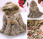 Winter Baby Girls Kids Faux Fur Leopard Hoodie Coat Clothes Jacket Fashion Hot