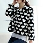 Women Heart Faux Rabbit Fur Coat Cardigan Round Collar Chic Jacket Outerwear New