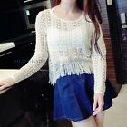 Lady Hollow Lace Top Blouse Fringe Tassel Long Sleeve Knit Ethnic Retro Sexy New