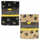 HOME EDITION SOFT PET BLANKETS WITH PAW PRINT DETAIL TC186 IN BLACK AND BEIGE
