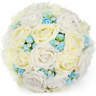 Wedding Roses Flower Bridal Bouquet Package Small Roses Buds & Pearl Beads Decor