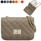 CLASSIC QUILTED SMALL FLAP CHAIN SHOULDER CROSS BAG PURSE REAL COWHIDE LEATHER