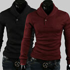 POP Men's Cosie Turtle Polo Neck Slim Fit Cardigan Sweater Pullover Shirts Tops