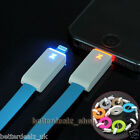 Intelligent LED Light USB Charger Data Sync Flat Cable Cord for iPhone 5 5C 5S