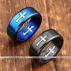 1pc Mens Women Blue Black Stainless Steel Gothic Cross Band Finger Ring Jewelry