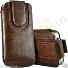 Brown Magnetic PU Leather Pull Tab Flip Case For Various Vodafone Models
