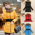 XS-L Sizes Sweet Women's Medium Style Faux Fox Fur Collar Hooded Down Jacket
