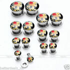 2x Cameo Stainless Steel Screw Flesh Tunnels Ear Plugs Expander Stretcher Earlet