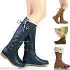 NEW WOMENS LADIES LOW HEEL MID CALF FULL FURR LINED WINTER LONG BOOTS SIZE