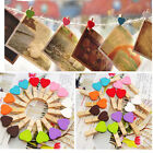 10/50/100Pcs Mini Wooden Pegs Photo Clips Hearts Wedding Room Decor Craft Gifts