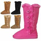 NEW Kids Girl Snow Winter Side Button Classic Flat Heel Round Toe Fur Boot Shoe