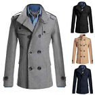 Stock Men Black Slim Winter Pop Double Breasted Peacoat Coat Jackets Low Price
