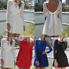 R New Sexy Women Mini Dress Casual Lace Long Sleeve Party Evening Cocktail Short