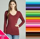 Внешний вид - Womens Plus Size V Neck T Shirt Layering Long Sleeve Active Basic XL/1X/2X/3X