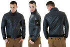 *BRAND NEW* MENS QUILTED JACKET FUNK D PUNK STYLISH UNIQUE DESIGNER NAVY COLOUR