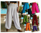 LADIES HAREM PANTS- BAGGY SMOCKED - THAI BEACH CHIC - VARIOUS COLOURS