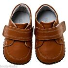 Boy's Infant Children's Kid's Toddler Little blue Lamb Tan REAL Leather Shoes