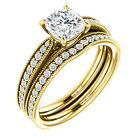 1ct 6mm Cushion Cut FB Moissanite Solid 14K Yellow Gold diamond Engagemen Ring