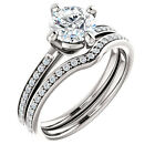 1ct Forever Brilliant Moissanite clear round 14K White Gold Engagement Ring Set