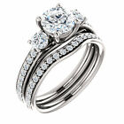 1.40ct Forever Brilliant Moissanite Solid 14K White Gold 3 stone Engagement Ring