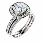 7mm Antique Square Cushion FB Moissanite 14K White Gold Halo Engagement ring set