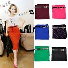 Fashion Women Lady High Waisted Belted Stretch Bodycon Knee Length Pencil Skirt