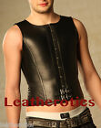 Black overbust Mens  Leather corset ght lacing steel boned top tgs tvs cds