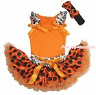 Halloween Skull Ruffle Top Orange Black Dot Pettiskirt Baby Girl Costume NB-8Y